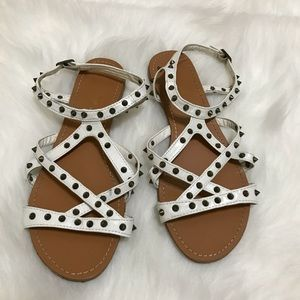 Bamboo Ankle Strap White Sandals